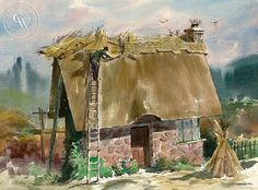 Art Riley (1911-1998) - Thatching the House