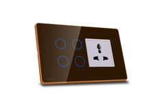 Hogar Controls Designer Smart Touch Switch Panels - z-wave zigbee - 4 touch plus universal socket Brown on Gold white bazzle side view