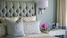 Cream Velvet Tufted Headboard - Contemporary - bedroom - Lisa Sherry Interieurs - Home Decorating DIY Dream Bedroom, Home Bedroom, Master Bedroom, Bedroom Decor, Bedroom Ideas, Bedroom Lighting, Sconce Lighting, Velvet Tufted Headboard, Upholstered Headboards