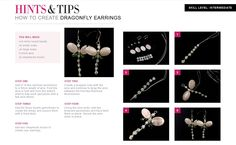 Free Jewellery making tutorials - Learn how to create Dragonfly Earrings.