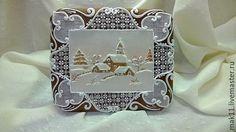Пряничная открытка.Новый год. Деревенский пейзаж. Имбирное печенье.