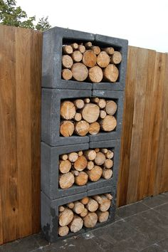 grillecke garten Concrete blocks in the garden - 34 fashion designs Living ideas for inspiration Outdoor Firewood Rack, Firewood Storage, Firewood Holder, Barbacoa Jardin, Design Jardin, Modern Garden Design, Patio Design, Concrete Design, Concrete Blocks
