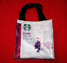 Recycled Coffee Bag Purse or Lunch Bag made with Recycled STARBUCKS Coffee bags RESERVED for Lisa