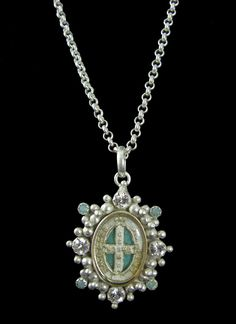 Virgins Saints and Angels San Benito Oval Charm Necklace.