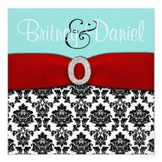 Tiffany Blue and Red Wedding Invitations invitation