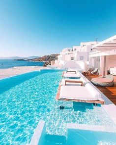 Perfect place to take a nap 💦 The 'Cavo Tagoo Hotel' Designed by Nikos Liakos. Located in Mykonos Island, Greece. Vacation Places, Vacation Destinations, Dream Vacations, Vacation Spots, Honeymoon Places, Beautiful Places To Travel, Cool Places To Visit, Places To Go, Beautiful Hotels