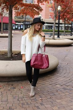 #offtheshouldersweater #offtheshoulder #white #cream #sweater #whitesweater #peeptoeheels #peeptoebooties #leggings #Blackleggings #maroonpurse #fedora #blackfedora #greybootie #kennethcole #stevemadden #blond #fashionblog #lifestyleblog #blog #styleblog #fashion #style #lifestyle