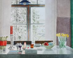 MARJATTA HANHIJOKI  Paasiainen Hanhijoessa (2005) Watercolor Print, Watercolor Paintings, Watercolours, Day Lewis, Through The Window, Finland, Contemporary Art, Window Panes, Artist