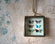 butterfly shadowbox necklace