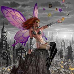 Artwork: papillion by fantasy artist Alan Gutierrez. See more artwork by this featured artist on the fantasy gallery website. Fantasy Kunst, Fantasy Art, Fantasy Fairies, Fairy Dust, Fairy Tales, Fairy Wallpaper, Wallpaper Backgrounds, Kobold, Image 3d
