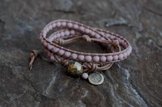 Rustic OM and Riverstone Wrap Bracelet with Oxidized Brass Button Closure by KyaraCreations on Etsy Necklaces, Bracelets, Beaded Flowers, Jewerly, Om, Brass, Closure, Rustic, Button