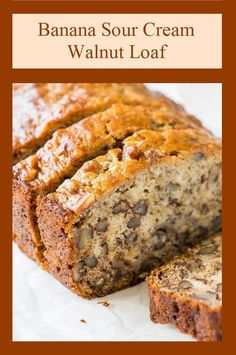Banana Sour Cream Walnut Loaf Recipe Nothing says home like the smell of banana bread baking in the oven. The addition of sour cream to the classic recipe makes this a moist and delicious bread. This extra special banana bread makes wonderful gifts for friends and neighbors. The recipe makes two Sour Cream Banana Bread, Keto Banana Bread, Banana Bread Recipes, Banana Nut, Easy Banana Bread Muffins, Sugar Free Banana Bread, Homemade Banana Bread, Homemade Breads, Muffin Recipes