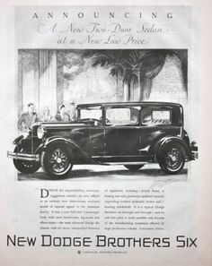 1929 DODGE Brothers 6 Automobile Car Original Advertising