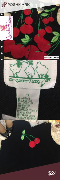 Quacker Factory Sweater Vest, NWT, Size 1X Adorable thick knit sweater vest with cherry artwork. Comes with detachable button covers for extra flair. NWT. Size 1X. Quacker Factory Jackets & Coats Vests