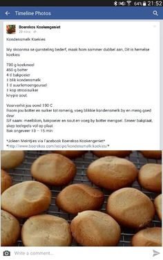 Kondensmelk koekies Milk Biscuits, Biscuit Cookies, Cupcake Cookies, My Recipes, Sweet Recipes, Cooking Recipes, Favorite Recipes, Recipies, South African Dishes