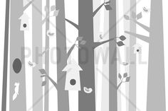 Bird Forest - Grey - Tapetit / tapetti - Photowall
