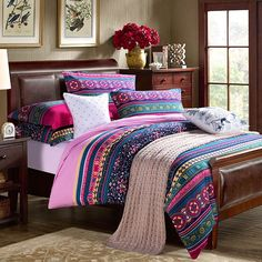 Red Teal and Green Tribal Print Stripe and Bohemian Style Western Decor 100% Brushed Cotton Full, Queen Size Bedding Sets