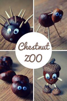 Chestnut Zoo: Herbst Basteln mit Kindern - Fall Decor and Crafts - Kids Crafts Kids Crafts, Easy Fall Crafts, Fall Crafts For Kids, Fall Diy, Preschool Crafts, Diy For Kids, Conkers Craft, Acorn Crafts, Autumn Activities
