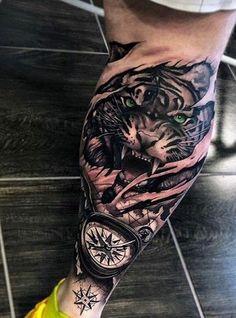 Pin by Pogz on Tattoo Calf Sleeve Tattoo, Lion Leg Tattoo, Calf Tattoo Men, Lion Tattoo Sleeves, Sleeve Tattoos, Leo Tattoos, Badass Tattoos, Animal Tattoos, Black Tattoos