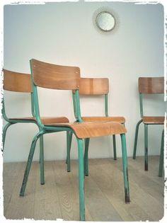 Chaises D'Ecole Vintage Années 60