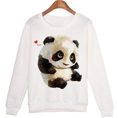 Cute Animal Sweatshirt sudaderas mujer Panda Printed Harajuku Hoodies Kwaii Moleton Pullovers WMH29. Click visit to buy