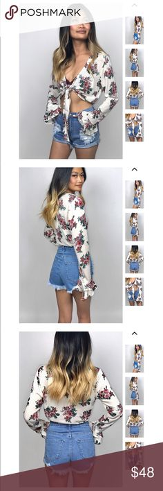 Sunday Bloom Tie Bell Sleeve Crop See DESCRIPTION in attached photos from www.fernwehboheme.com  ❌ No trades  🙋🏼 PRICE FIRM  👌🏼Bundle three or more and get 10% off Tops Crop Tops