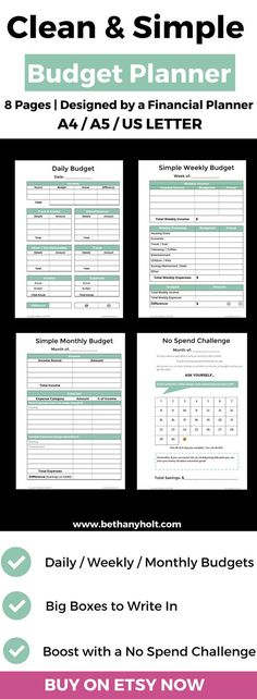 Personal Budget Planner, Financial, Budget, Printable, Planner - sample monthly budget template
