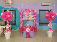 P:P:P pinkie pie party. My little pony party ideas  I LOVE the flower pots!!