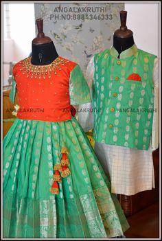 Angalakruthi-Custom designer boutique in Bangalore We. Kids Party Wear Dresses, Kids Dress Wear, Dresses Kids Girl, Kids Outfits, Baby Dresses, Trendy Dresses, Indian Dresses For Kids, Kids Indian Wear, Kids Ethnic Wear