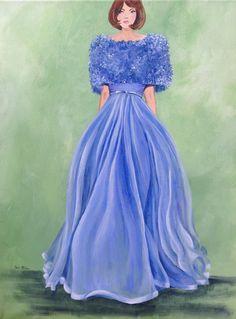 "Lucy Loved Lavender by Cheri Miller | $300 | 16""w x 20""h | Original Art | http://www.vangoart.co/cheri-miller/lucy-loved-lavender @VangoArt"