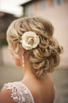 Wedding Flowers, Wavy Curly Updo Wedding Hairstyle With Flower ...