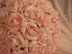 ARTIFICAL PINK FOAM ROSE BRIDES WEDDING BOUQUET All colours avaliable   eBay