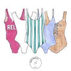 """784 Likes, 4 Comments - Good Objects Illustration (@goodobjects) on Instagram: """"Good objects - Swimsuits #goodobjects #watercolor #illustration"""""""
