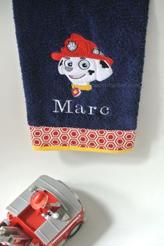 ♡Adorable Personalized Paw Patrol Marshall Bathroom Decor Hand Towel♡    This Personalized Paw Patrol Hand Towel will add color and cheer to the
