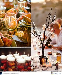 Loving the floating apples in the hurricane vases!! And how simple would the glittered-branch centrepieces be?