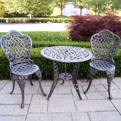 Oakland Living Tea Rose Cast Aluminum 3-Piece Bistro Set Antique Bronze