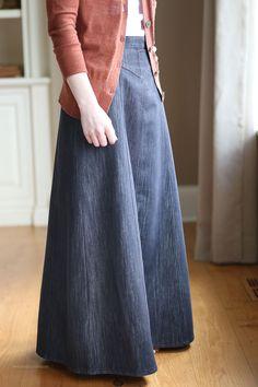Flowing Chambray Modest Skirt | Long Denim Skirt Size 8-18 | Long ...