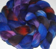 Wool Roving, Spinning Fiber, Felting, Hand Dyed Wool, Hand Painted Merino Top Sheep Wool in Shades of Blue, Russet and Purple 2.1 oz.