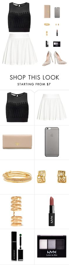 """""""Welcome to my house, play that music too loud"""" by victoria-pittore ❤ liked on Polyvore featuring Miss Selfridge, Alice + Olivia, Prada, Native Union, Kate Spade, Repossi, Givenchy, NYX, Casadei and Summer"""