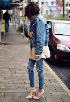 Double denim style done well ღ Stylish outfit ideas for women who follow fashion.