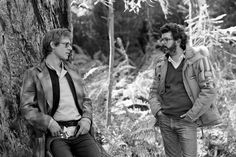 Harrison Ford and George Lucas Chill on the Set of Return of the Jedi