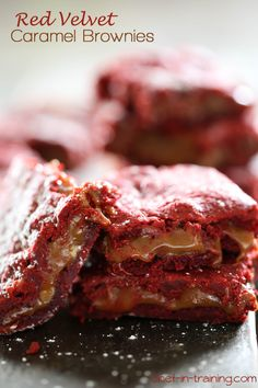 Red Velvet Caramel Brownies from chef-in-training.com ...These brownies are delicious! Filled with ooey-gooey caramel and chocolate, what could be better!?!