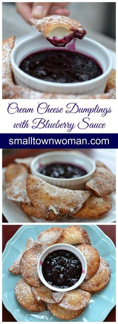 Cream Cheese Dumplings with Blueberry Sauce With just a handful of ingredients you can have these hot little cream cheese dumplings in your hands! Brownie Desserts, Mini Desserts, Just Desserts, Delicious Desserts, Dessert Recipes, Yummy Food, Asian Desserts, Healthy Food, Coconut Dessert