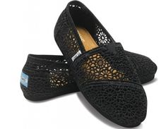 Toms Womens Lace Crochet Shoes Black