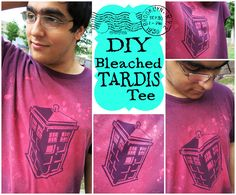 Bleached TARDIS Tee from HodgePodgeCrochet! This makes a great gift for any Doctor Who fan. Lots of photos in this tutorial! Crafts For Teens, Crafts To Do, Teen Crafts, Teen Programs, Library Programs, Teen Library, Bleach T Shirts, Lol, Disney Diy