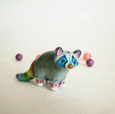 Raccoon totem figurine, circus inspired. One of a Kind.