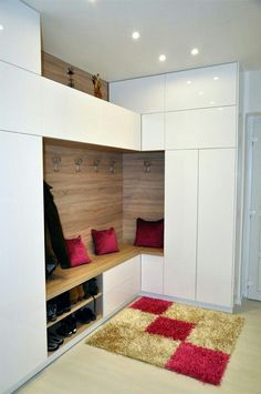 Best Modern Entryway Ideas With Bench Here are 15 modern entryway ideas for small spaces that will keep your home's first and last impression on-point Latest Cupboard Designs, Bedroom Cupboard Designs, Wardrobe Design Bedroom, Wall Design, House Design, Modern Entryway, Entryway Ideas, Living Room Cabinets, Hallway Storage