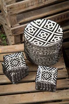 Handpainted Black and White Patterned Ceramic Assorted Plates by Vagabond Vintage