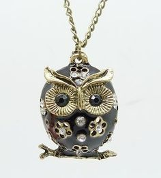Black Owl Pendant Necklace #jewelry #necklace