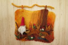 Little gnome in the forest (3D wall hanging  in waldorf tradition) via Etsy.